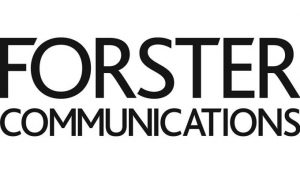 Black text saying Forster Communications on a white backgorund