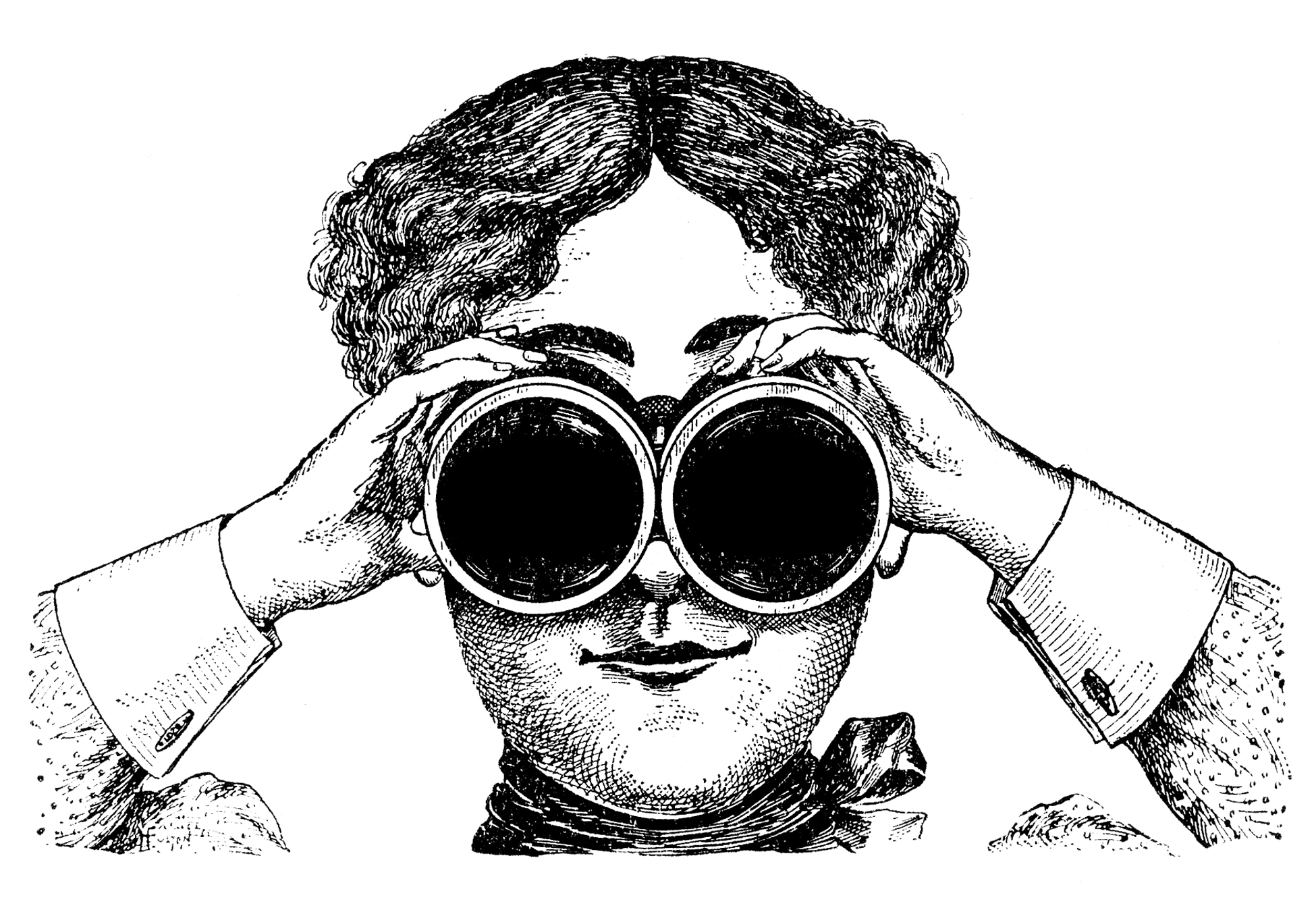 New Website vintage image of woman looking through binoculars