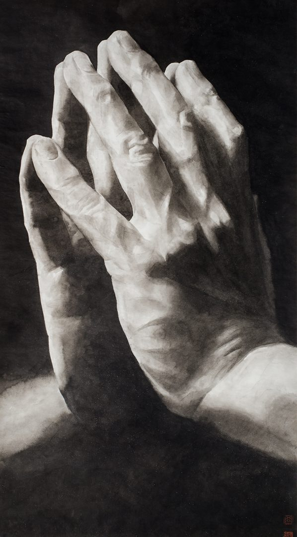 Painting by Qu Leilei 2014 of a pair of hands which symbolise a sense of gratitude, thankfulness, a positive mindset towards wellbeing, an attititude that embraces all the emotions and nurtures happiness.