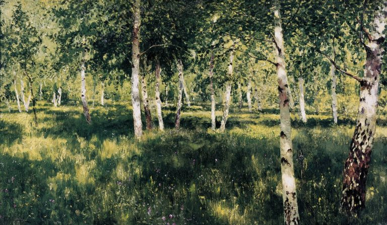 Dappled Lightseen in the painting, Birch Grove by Isaac Levitan