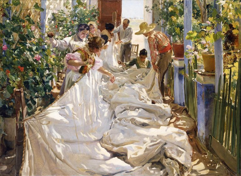 Dappled light shown in the painting, Sewing the Sail by Joaquin Sorolla y Bastida